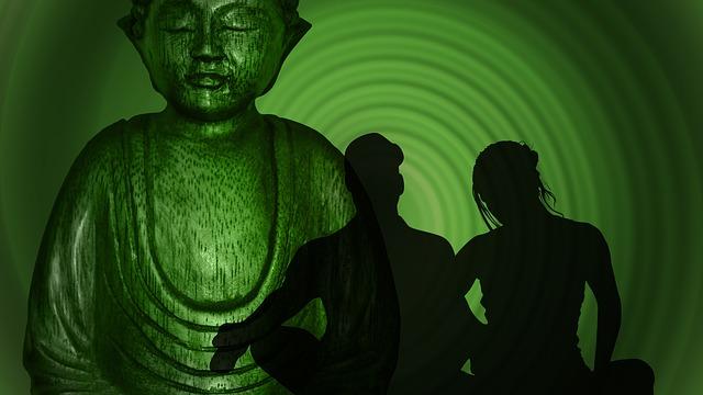 buddha a siluety lidí